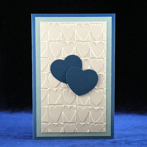 Petite carte aux 2 coeurs bleus