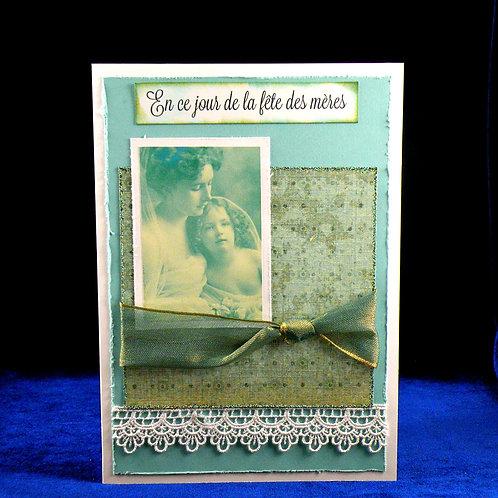 Carte fête des mères Vintage turquoise