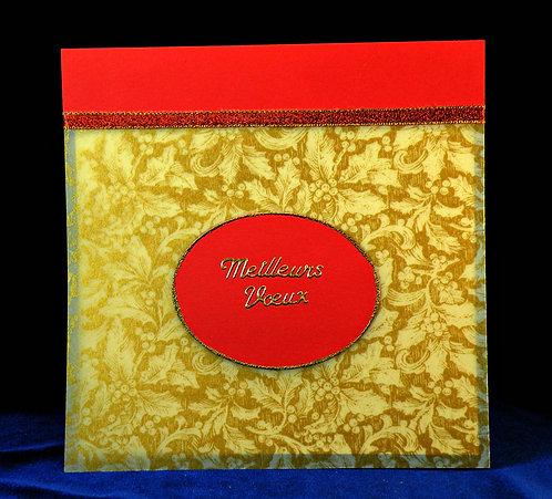 Carte de Noël avec feuilles de gui dorées
