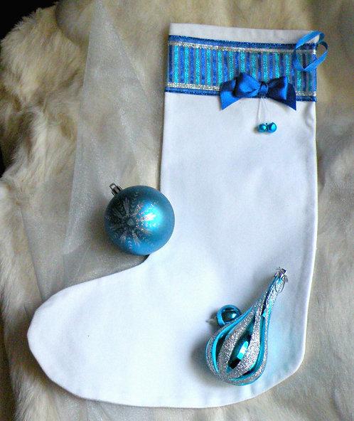 Bas de Noël au rubans bleutés
