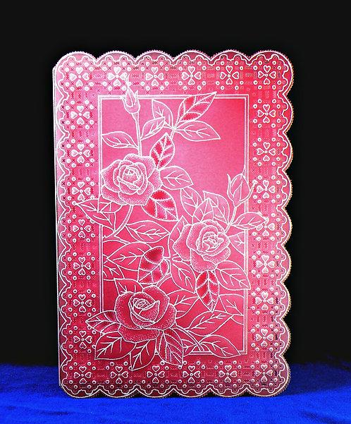 Carte fleurie rose - modèle de Pergamano