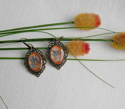 Boucles d'oreilles Vintage à cabochons bleu-orange