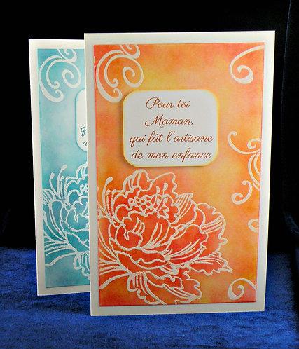 Carte fête des mères à grosse fleur orange-bleu