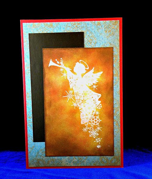 Carte de Noël avec ange jaune-doré