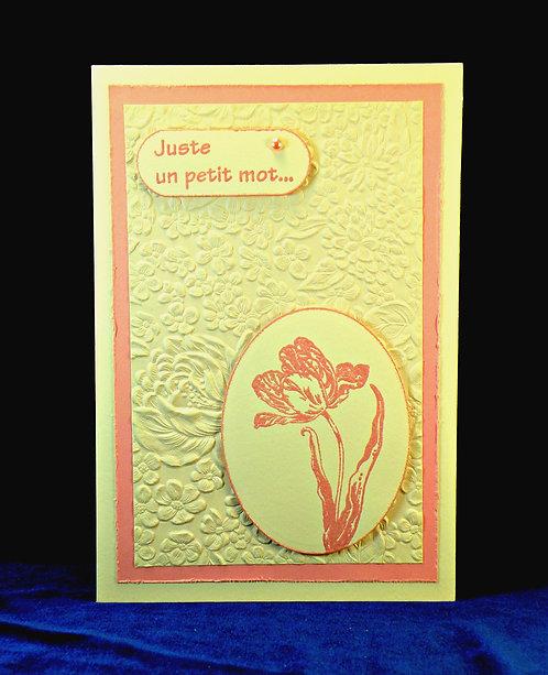 Carte tulipe rose ''Juste un petit mot''