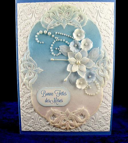 Carte fête des mères dentelle de papier petite fleurs