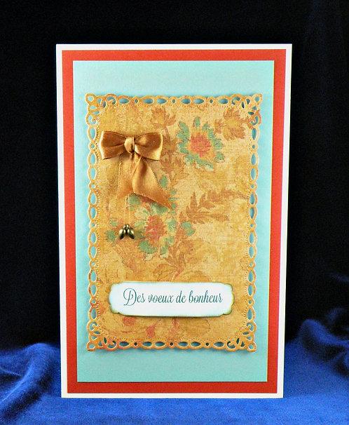 Carte de mariage 2 coeurs bronze antique et boucle