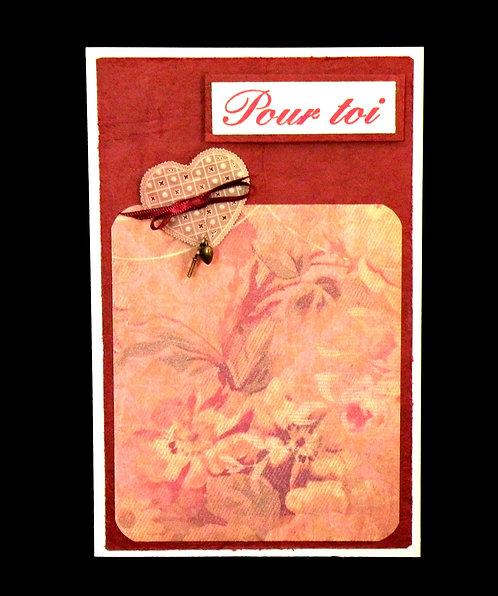 Carte amour/St-Valentin avec coeur et clef bronze antique