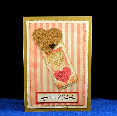 Carte St-Valentin avec coeur en liège style Vintage