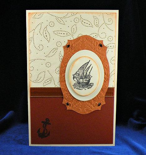 Carte médaillon embossé ocre bateau en médaillon