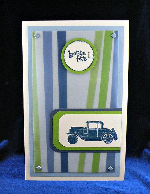 Carte de souhaits avec message ''Bonne fête'' auto ancienne