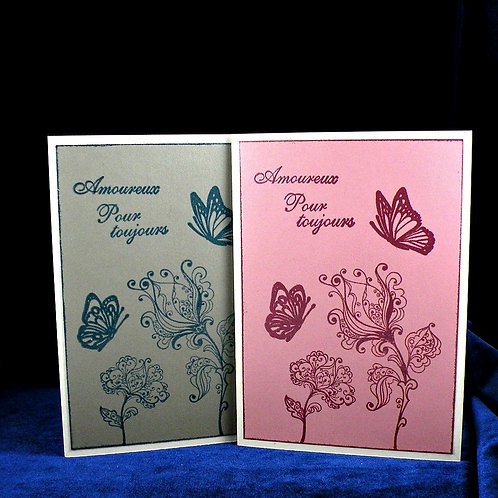 Carte ''Amoureux pour toujours'' aux papillons