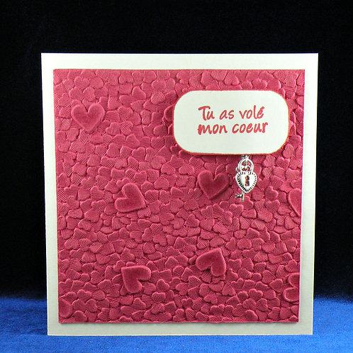 Carte amour/St-Valentin avec breloque et clef argentées