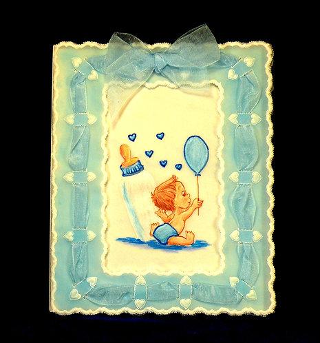Carte bébé garçon au ballon en dentelle de papier
