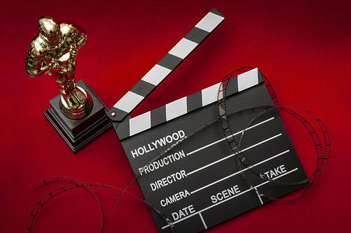 Hollywood film awards concept with shiny