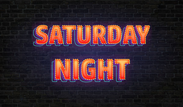 Saturday night, light and party banner..