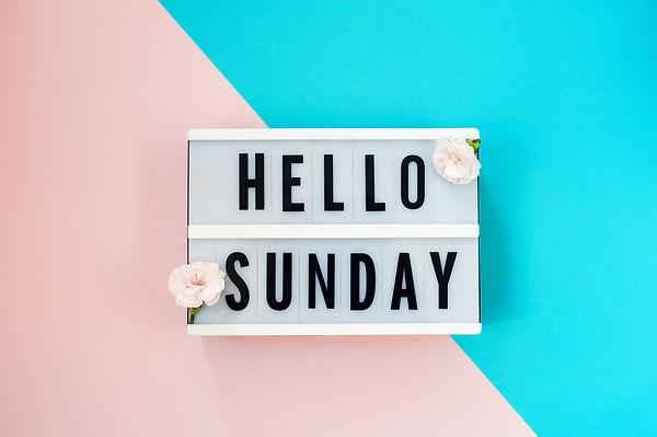 Hello Sunday - text on a display lightbo