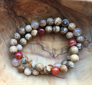 mala bracelet with jasper and red agate