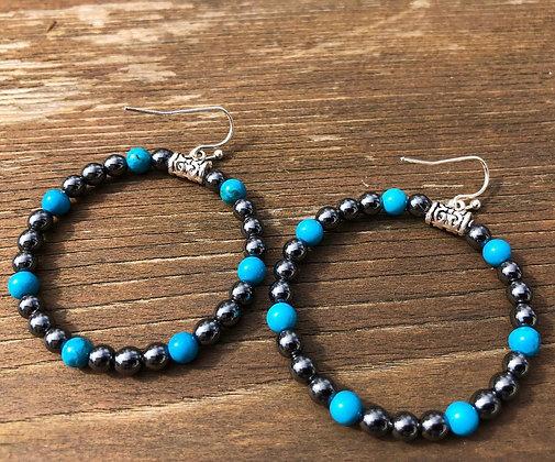 Turquoise and Hematite Loop Earrings