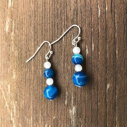 Blue-Striped Agate and White Cat's Eye
