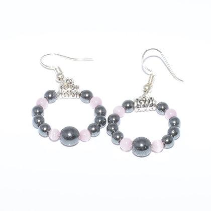 Hematite and Pink Cat's Eye Earrings