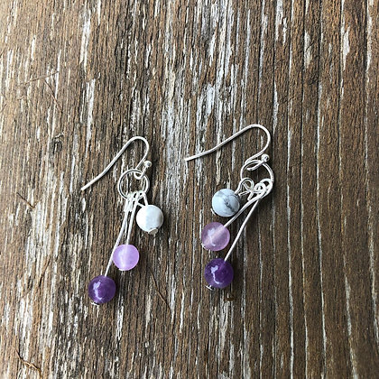 Amethyst, Lavender Jade and Howlite Earrings