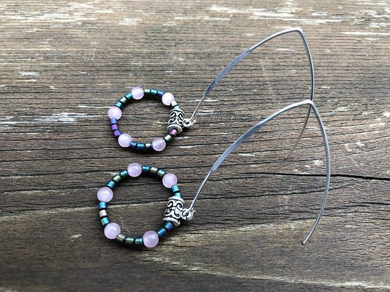 Pink Cat's Eye and Coloured Hematite Earrings