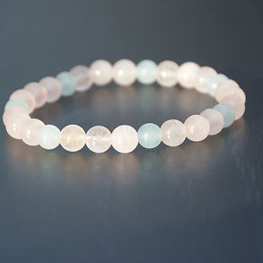 mala bracelet with Rose Quartz and Aquamarine