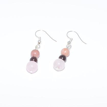 Rose Quartz, Garnet and Pink Tourmaline Earrings