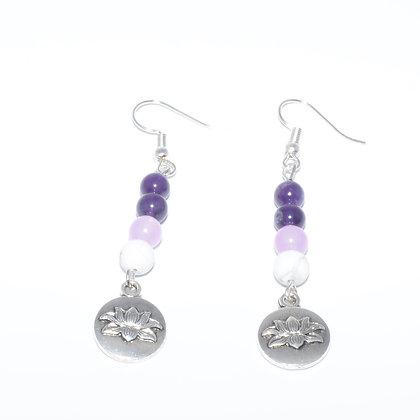 Amethyst, Howlite and Lavender Jade Earrings