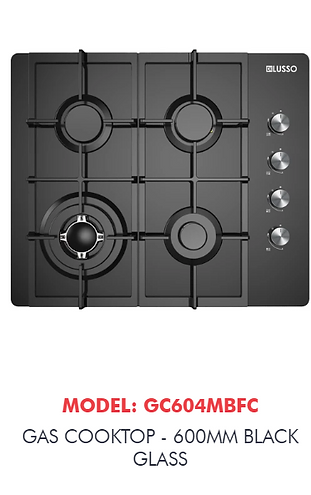 black glass gas cooktop