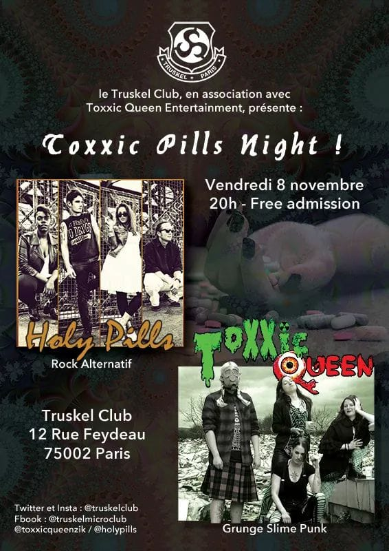 Flyer Toxxic Night @ Truskel, Paris