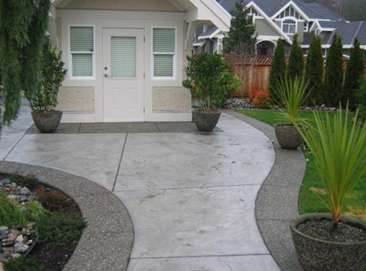 Stamped and exposed aggregate concrete w