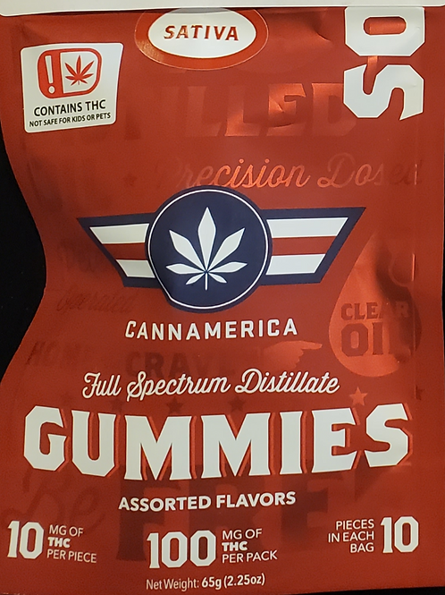 CANNAMERICA(SOUR SATIVA) 100MG10 MG IN 10 PIECES