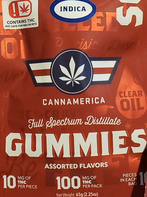 CANNAMERICA (SOUR INDICA)100MG 10MG IN 10 PIECES