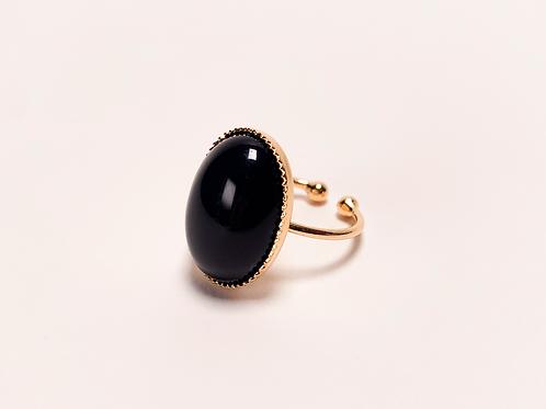 Bague Camélia - Agate noire