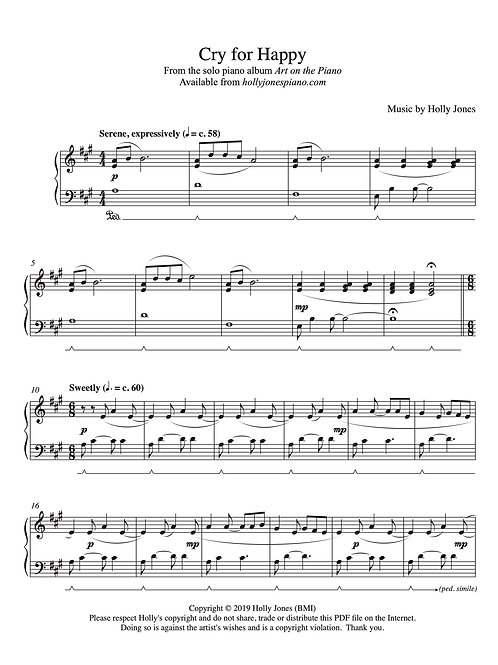 Cry for Happy - Sheet Music