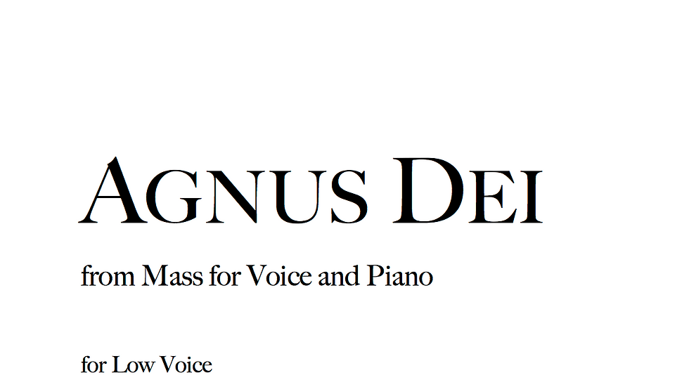 Agnus Dei - Low Voice
