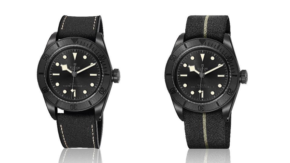 Black Bay Ceramic 碧灣陶瓷型腕錶附有皮膠帶與編織帶,奶油色縫線與時標呼應頗有復古感。