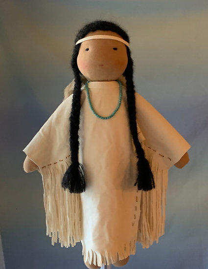 """17"""" Native American Doll With Papoose`"""