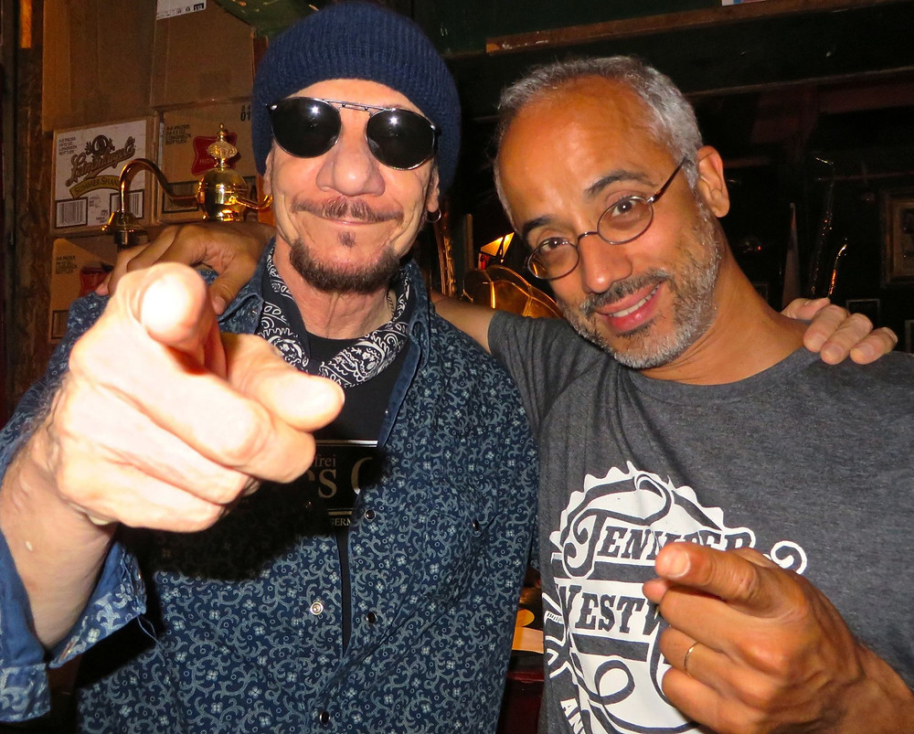 Johnny Bee and Luis Resto sporting our T at our EP release party.