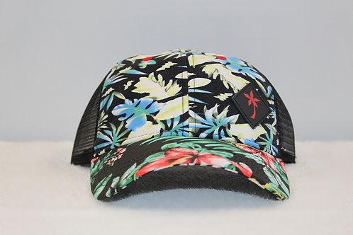Hoku Wear Black Hawaiian Floral Print Cap