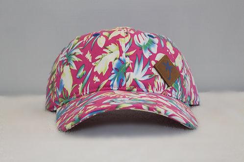 Pink Hawaiian Floral Print Cap