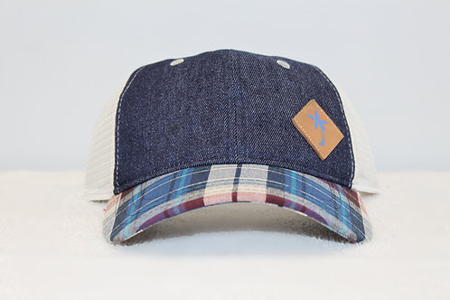 Hoku Wear Blue Denim Madras Plaid Cap