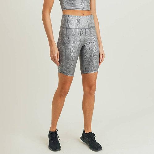 Mono B Silver Snake Print Bermuda Shorts with Vertical Zipper