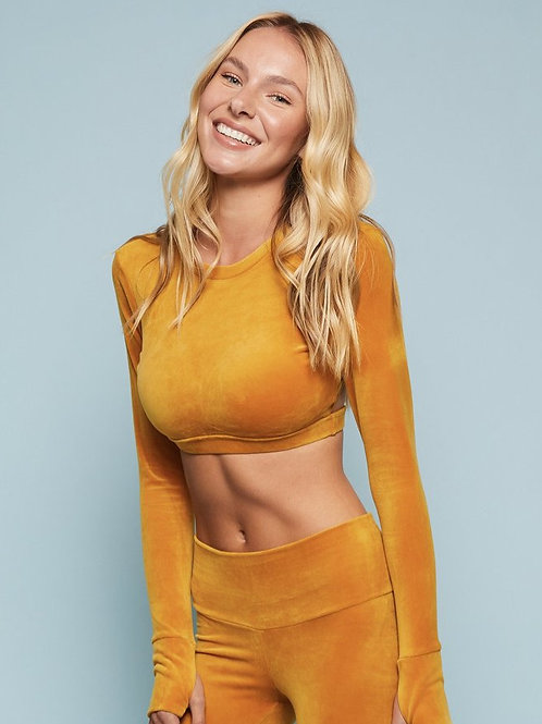 NEW Niyama Sol Velour Long Sleeve Crop Top in Marigold