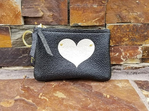 NEW Leather Keychain/Wallet with Heart