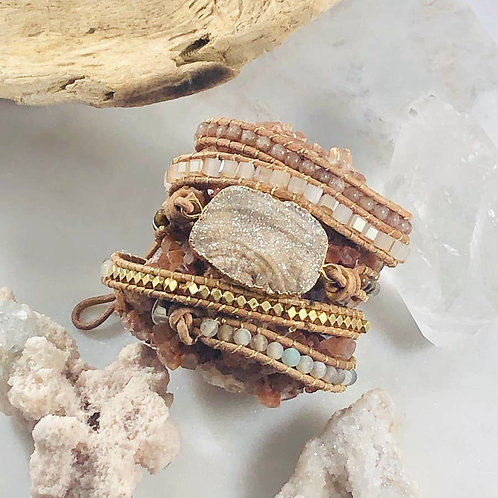 Sarah Belle Druzy Wrap Bracelet Warm