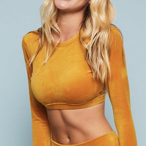 NEW Niyama Sol Velour Long Sleeve Crop Top in Marigold