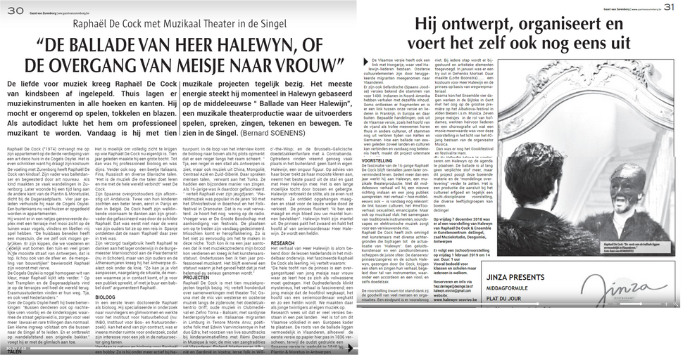 Interview in Gazet Zurenborg (in Dutch)